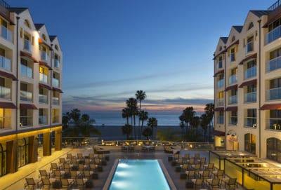 The pool area at Leow's Santa Monica California.