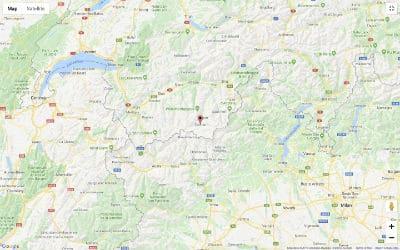 Map of Switzerland with a pin dropped on Zermatt